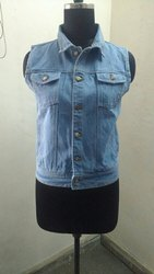 Blue Without Sleeves Denim Jacket