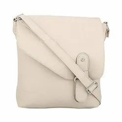 Cream Ladies White PU Sling Bag, for Casual Wear