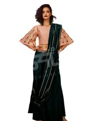 Embroidered Ethnic Wear Dark Green and Peach Color Designer Dress