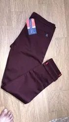Solid Mens Maroon Cotton Trouser, Waist Size: 30 to 36