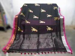 Linen Parrot Print Saree