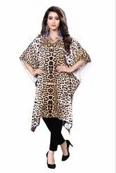 Digital Cheetah Leopard Animal Printed Satin Silk Short Kaftan For Women