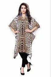 Digital Cheetah Leopard Animal Printed Satin Silk Short Kaftan For Women
