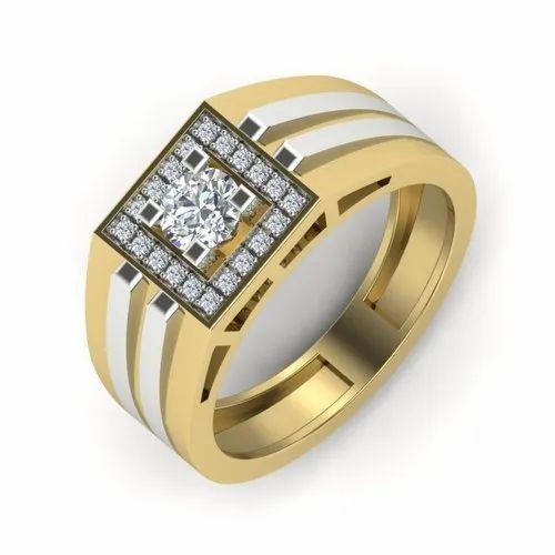 18k Yellow Gold Men' s Ring 0.63 Ct Diamond IJ-SI