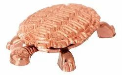 Kesar Zems Copper Wish Fulfilling Tortoise Figurine with Plate (10 cm x 7.5 cm x 1 cm, Copper)