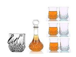Crystal Clear Glass Scotch Decanter with 6 Glasses