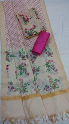 Ladies Chanderi Printed Dress Material