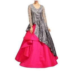 Embroidered Stitch Long Wedding Gown, Size: S-XXL