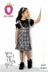 Girl Beautiful Black Checks Dungaree Style 2 Piece Frock