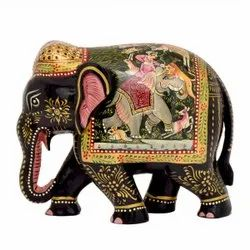 Wooden Hunting Scene Painted Elephant