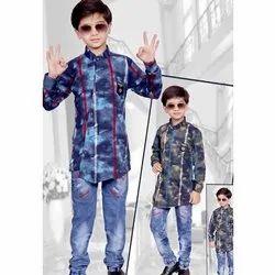 Casual Wear Printed Kids Denim Pant Shirt Set