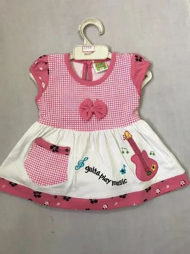 c62168f6 Pink And White Casual Wear Baby Check Print Cotton Frock, Rs 123 ...