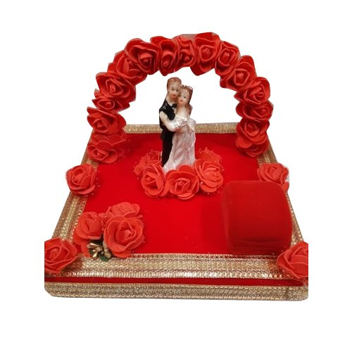 Red Designer Ring Ceremony Tray, Size/Dimension: 12x5 Inch