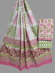 Unstitched Formal Wear Rapit Kalamkari Print Cotton Dupatta Suit Set, Dry Clean