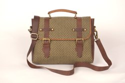 Canvas Handbag With Leather Trim