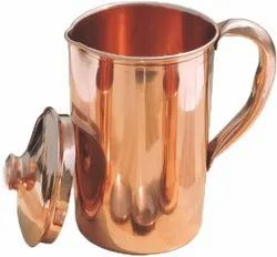 Hammered Copper Water Moscow Mule Serving Pitcher Jug with Lid