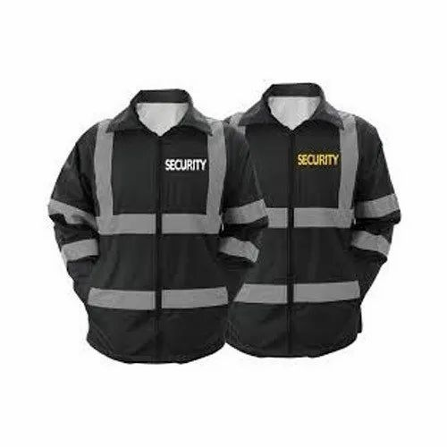 Polyester Black Security Jackets, Size: Small