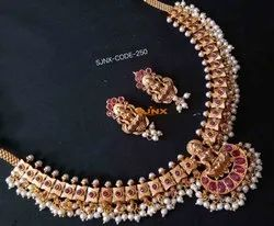 Flower Design Golden South Necklace Set, Occasion: Anniversary, Earring