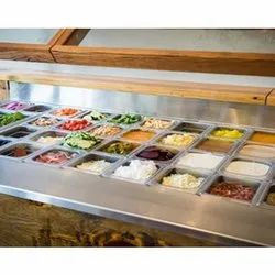 ss Metal And Glass Salad Bar Display Counter, For Hotel, Power Consumption: 3 Units