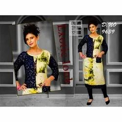 Blue Casual Wear Ladies Rayon Printed Kurti, Size: L
