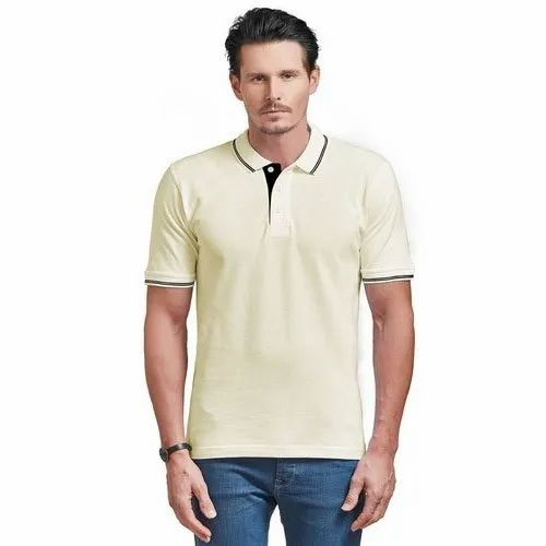 Half Sleeves Ruffty Polo Tipping Men Cream With Black Tipping T-shirt, Size: S To 5XL