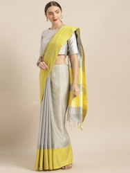 Grey Solid Linen Blend Saree with Blouse piece