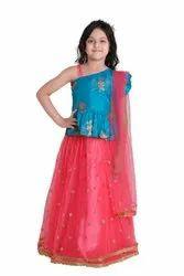 Net Pink Adiva Girls Party Wear Lehenga Choli Set For Kids