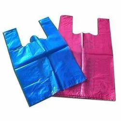 Blue, Pink Plain LD Plastic W Cut Carry Bag, For Grocery, Thickness: 20-40 Micron