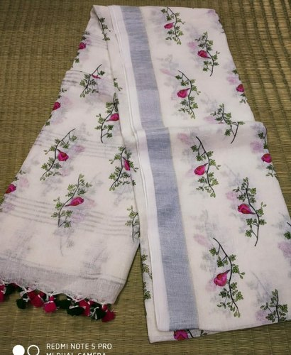 Handmade Hand Print Linen Saree