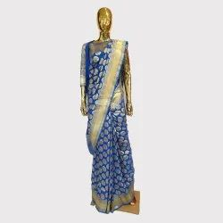 Blue Katan Silk Saree