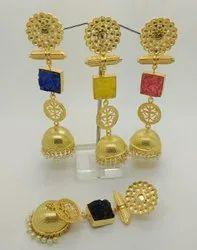 Golden Designer Druzi Stone Long Jhumka