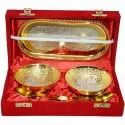 Silver Bowl and Tray Diwali Gift Set