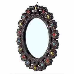 Black Polished Wooden Handcrafted Design Mirror, Size: 16 Inch