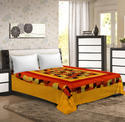Yellow Multicolor New Patch Work Cotton Double Bedsheet