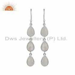 Rainbow Moonstone Gemstone 925 Fine Silver Earrings
