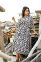 Cotton Ikat Handmade With Hand Block Printed Vintage Maxi Dress