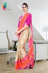 Beige with Orange and Pink Border Italian Crepe Uniform Saree