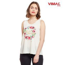Vimal Graphic Printed Off White Women Tank Tops, Size: S, M & L