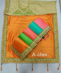 A...Chex Border Blouse Saree