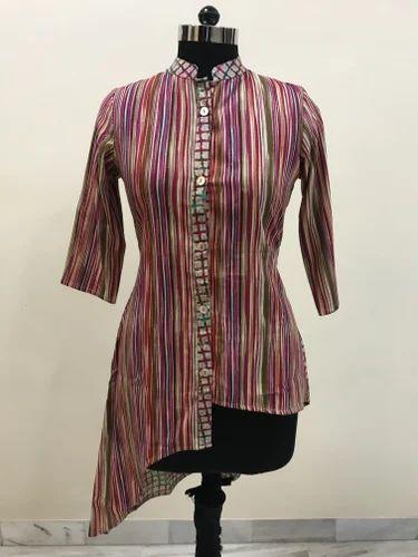 Lavanya Rayon Stripes Fancy Cut Top