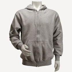 Mens Grey Zipper Hooded Sweatshirt