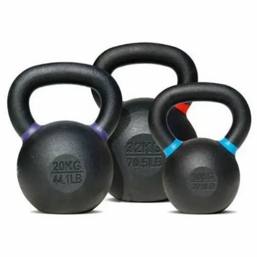 Black Powder Coated Cast Iron Kettlebell for Gym