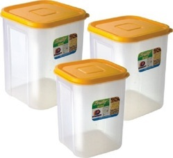 Square Plastic Container Freshy 3 Pcs Set