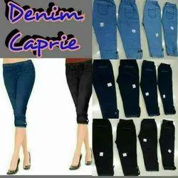 Plain Denim capri, Size: 28 to 40