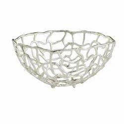 Aluminium Metal Decorative Fruit Bowl Nickel Finish