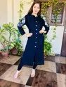 Ladies Designer Blue Kurtis With Legging