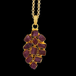 July Birthstone Rough Ruby Gemstone Women Chain Pendant