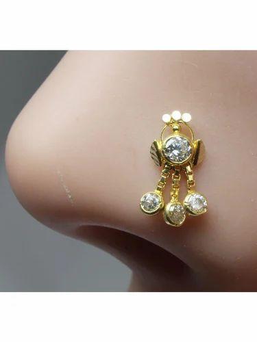 Karizma Jewels Real Gold Nose Stud 14k Ethnic Indian Piercing Nose Ring Push Pin Gnp 179