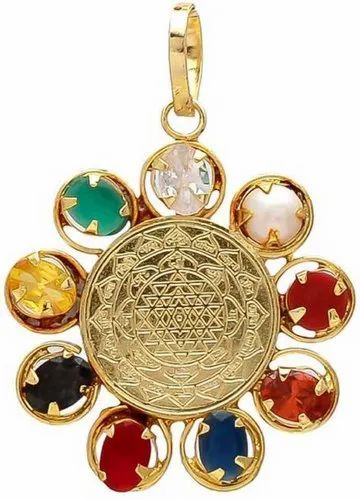 Shree Yantra Navratna Gold Plated Pendant