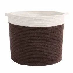 Square Cotton Rope Basket, Size: 10 Diameter X 15 Inch Height
